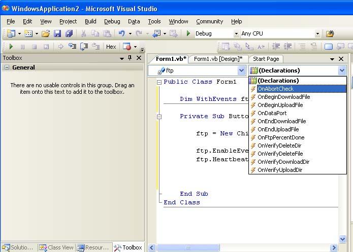 Adding a Callback Event Handler in VB NET – Chilkat Tech Notes